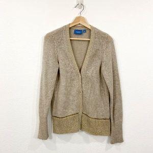 Gold & Tan Snap Button Cardigan Size M